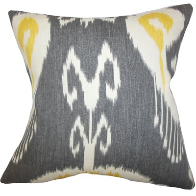 Bufford Ikat Linen Throw Pillow Color: Storm, Size: 24 x 24