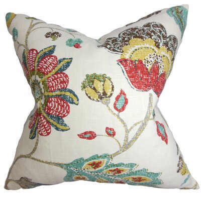 Jora Floral Throw Pillow Color: Poppy, Size: 18 x 18