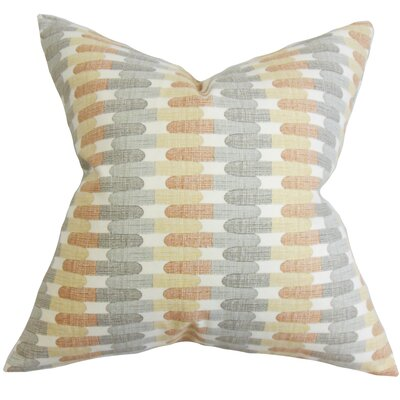 Malus Geometric Cotton Throw Pillow Color: Grey Stone, Size: 24 x 24
