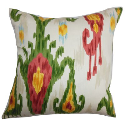 Talisha Ikat Cotton Throw Pillow Cover Color: Green Pink