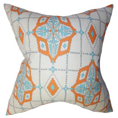 Delane Geometric Cotton Throw Pillow Color: Mandarin, Size: 24 x 24