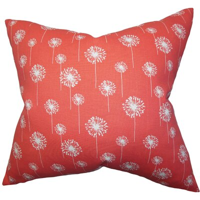Joop Floral Cotton Throw Pillow Color: Coral, Size: 18 x 18