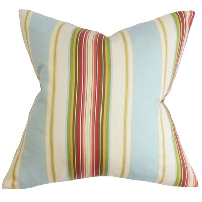 Douce Stripes Cotton Throw Pillow Color: Natural Blue, Size: 18 x 18