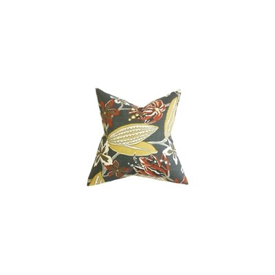 Averill Floral Cotton Throw Pillow Color: Storm, Size: 18 x 18
