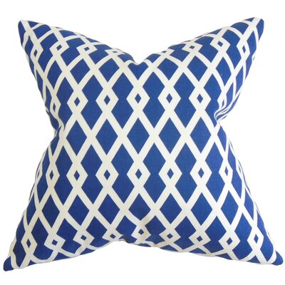 Tova Geometric Cotton Throw Pillow Cover Color: Blue