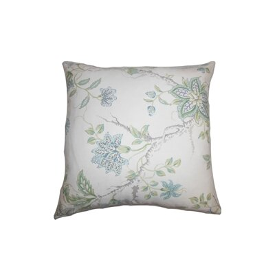 Ululani Floral Cotton Throw Pillow Color: Aqua, Size: 18 x 18