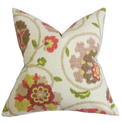 Aspendale Floral Cotton Throw Pillow Color: Raspberry Green, Size: 18 x 18