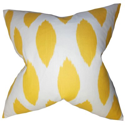 Juliaca Ikat Cotton Throw Pillow Cover Color: Yellow