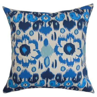 Spiers Ikat Cotton Throw Pillow Color: Arctic Blue / Natural, Size: 18 x 18