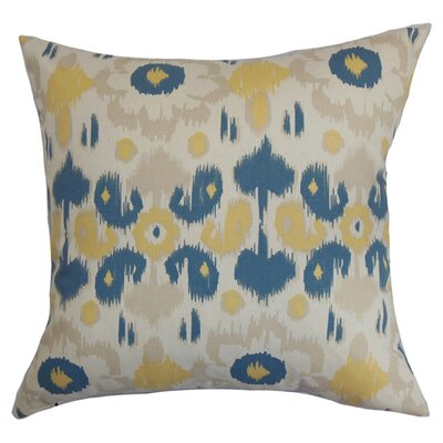 Querida Ikat Cotton Throw Pillow Color: Denim / Natural, Size: 18 x 18