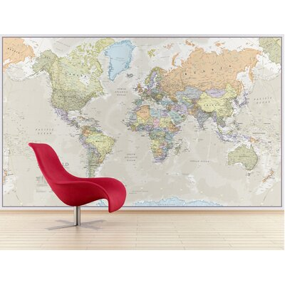 Giant World Map Wall Mural WP81002