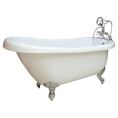 61 x 28 Clawfoot Soaking Bathtub Leg Finish: Brushed Nickel, Faucet Mount: No