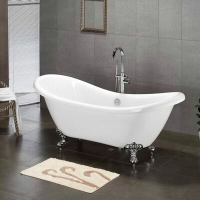 68.62 x 28.5 Claw Foot Slipper  Bathtub Leg Finish: Polished Chrome, Faucet Mount: No