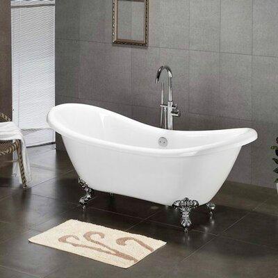 68.62 x 28.5 Claw Foot Slipper  Bathtub Leg Finish: Polished Chrome, Faucet Mount: Yes