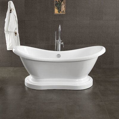 Acrylic Double Ended 68 X 28 Pedestal Slipper Bathtub