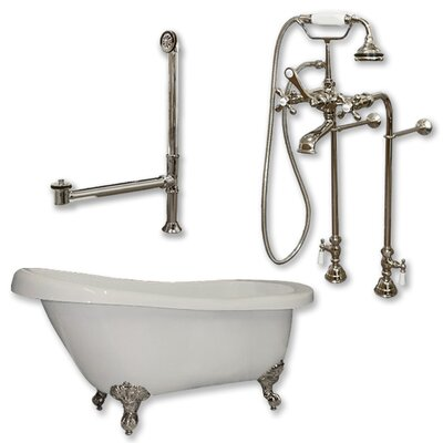 67 L x 28 W Freestanding Bathtub Finish: Brushed Nickel