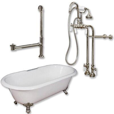 60 x 30 Freestanding Soaking Bathtub Color: Brushed Nickel