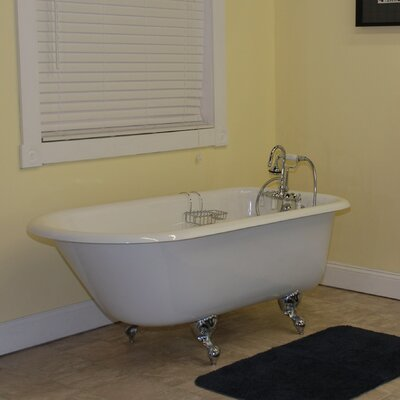 60.5 x 23.25 Rolled Rim Soaking Claw Foot  Bathtub Leg Finish: Polished Chrome, Faucet Mount: No Holes