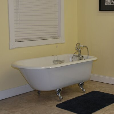 60.5 x 23.25 Rolled Rim Soaking Claw Foot  Bathtub Faucet Mount: No Holes, Leg Finish: Oil Rubbed Bronze