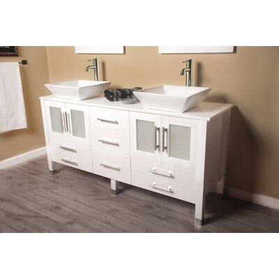 Meserve Solid Wood Vanity 64 Double Bathroom Vanity Set with Mirror