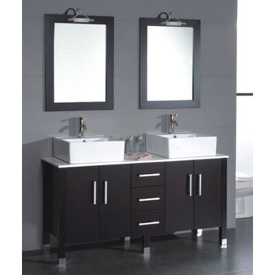 Meserve Solid Wood and Porcelain Vessel 59 Double Bathroom Vanity Set with Mirror