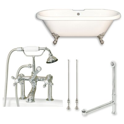 Acrylic 60 x 29 Freestanding Soaking Bathtub Color: Brushed Nickel