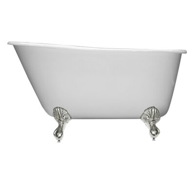 53.5 x 29.5 Claw Foot Slipper Bathtub Leg Finish: Brushed Nickel