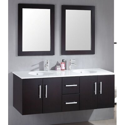 Sycamore 58 Double Bathroom Vanity Set with Mirror Hardware Finish: Brushed Nickel