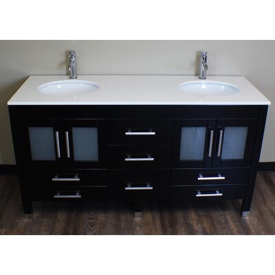 Seefeldt 63 Double Bathroom Vanity Set with Mirror Faucet Finish: Polished Chrome