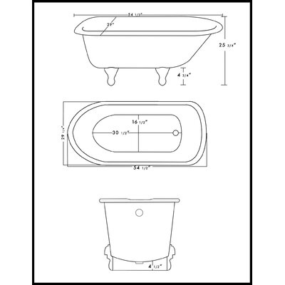 Cast Iron Clawfoot 55 x 30 Freestanding Soaking Bathtub