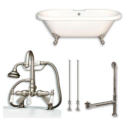 Acrylic 60 x 29 Freestanding Soaking Bathtub Color: Brushed Nickel