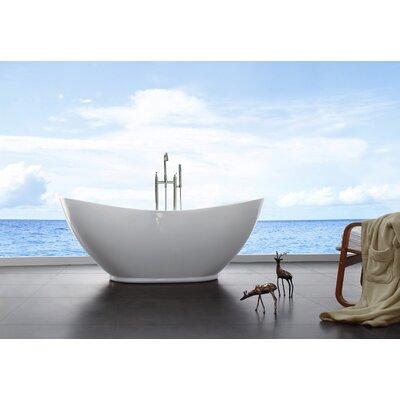 33.5 x 69 Freestanding Soaking Bathtub Drain Color: Brushed Nickel
