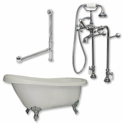61 x 28 Clawfoot Bathtub Finish: Polished Chrome