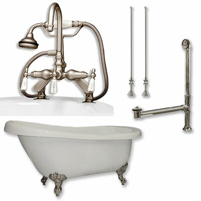 67 x 28 Clawfoot Soaking Bathtub Finish: Brushed Nickel