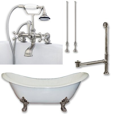 71 x 30 Clawfoot Bathtub Finish: Brushed Nickel