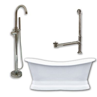 71 x 30 Freestanding Soaking Bathtub Color: Brushed Nickel
