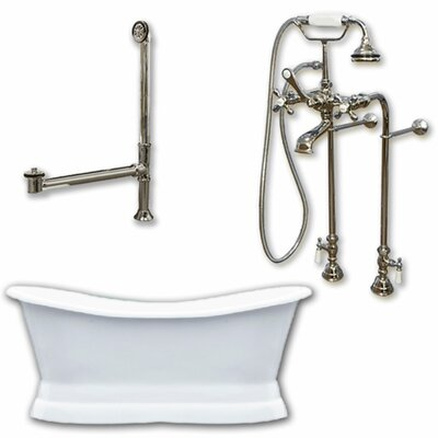 72 x 30 Freestanding Soaking Bathtub Color: Brushed Nickel