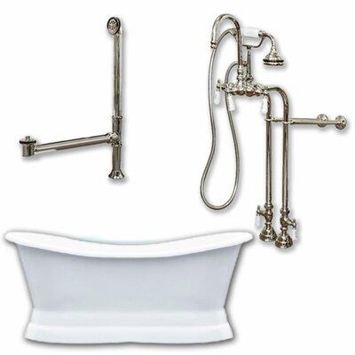 72 x 30 Freestanding Soaking Bathtub Color: Brushed Nickel