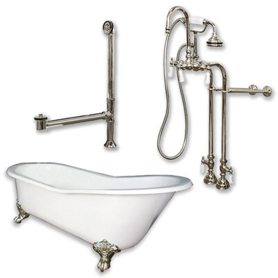 67 x 30 Clawfoot Bathtub Finish: Brushed Nickel