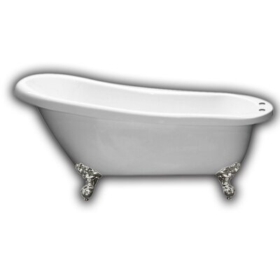 67 x 28 Clawfoot Soaking Bathtub Leg Finish: Brushed Nickel, Faucet Mount: Yes