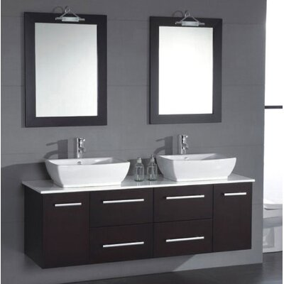 Poplar 62 Double Bathroom Vanity Set with Mirror Hardware Finish: Brushed Nickel