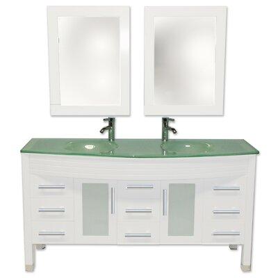 Modern 63 Double Bathroom Vanity Set with Mirror