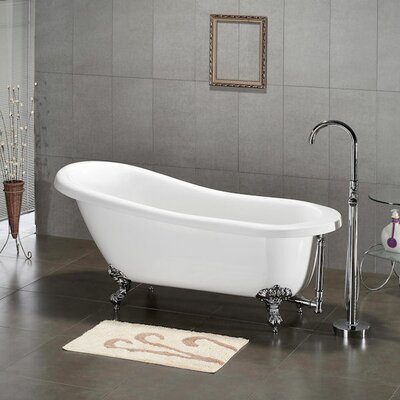 61 x 28 Claw Foot Slipper Soaking Bathtub Leg Finish: Polished Chrome, Faucet Mount: Yes