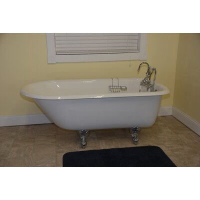 55 x 23.25 Rolled Rim Claw Foot  Bathtub Faucet Mount: Deck Mount, Leg Finish: Polished Chrome