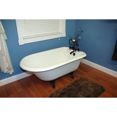 "55"" x 23.25"" Rolled Rim Claw Foot Bathtub Faucet Holes: Deck Mount, Claw Foot Finish: Brushed Nickel"
