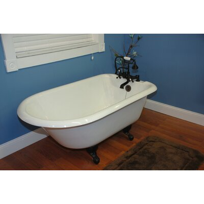60.5 x 23.25 Rolled Rim Soaking Claw Foot  Bathtub Faucet Mount: Wall Mount, Leg Finish: Oil Rubbed Bronze