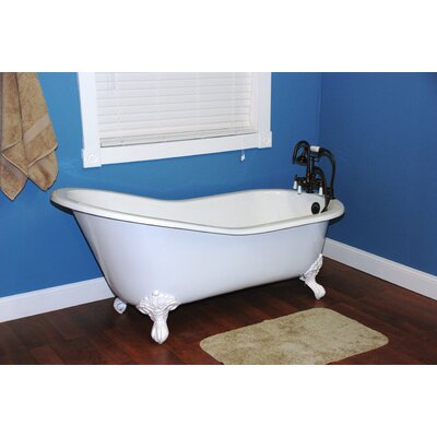 60.5 x 30.5 Ball and Claw Foot Slipper  Bathtub Leg Finish: Polished Chrome, Faucet Mount: Yes