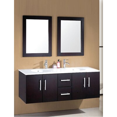 Sycamore 58 Double Bathroom Vanity Set with Mirror Hardware Finish: Polished Chrome