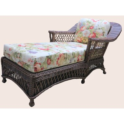 Bar Harbor Chaise Lounge Upholstery: Sunset Navy, Frame Color: White