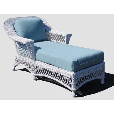 Bar Harbor Chaise Lounge Frame Finish: White, Upholstery: Montfluer Surf